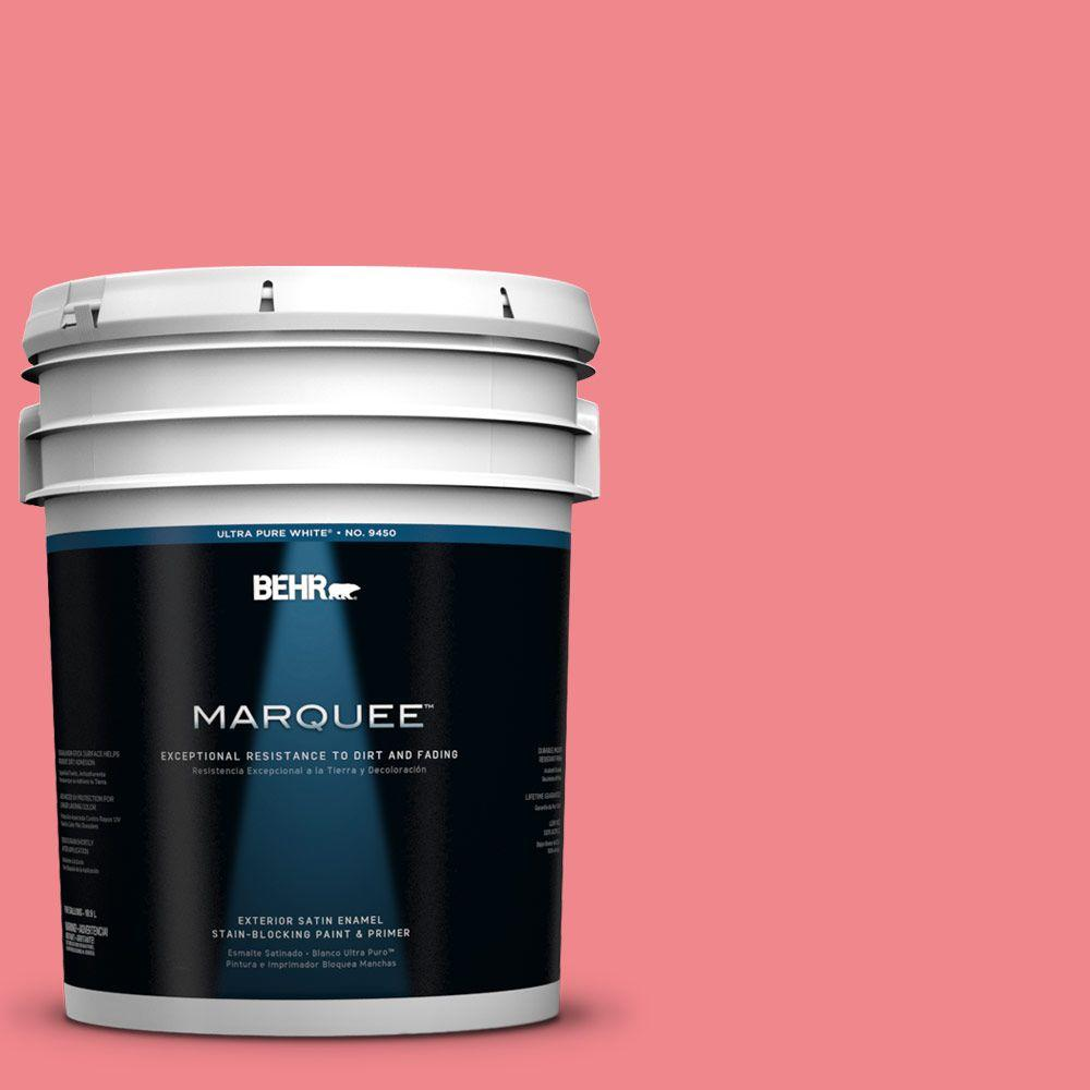 BEHR MARQUEE 5-gal. #140B-5 Flamingo Dream Satin Enamel Exterior Paint