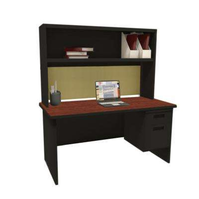 Black and Mahogany Palmetto 60 in. Single File Desk with Storage Shelf