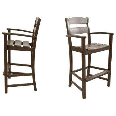 Clics Mahogany 2 Piece Plastic Outdoor Patio Bar Arm Chair Set White