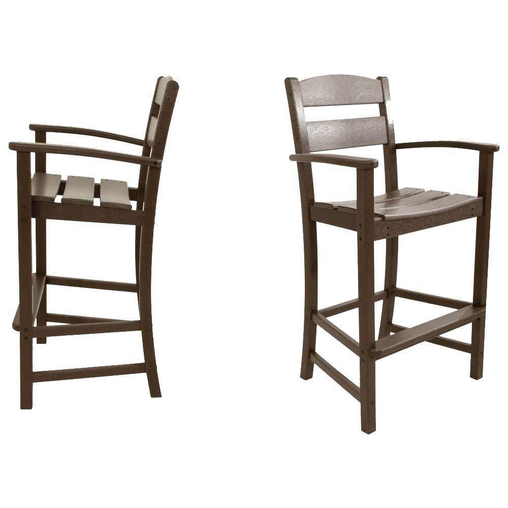 Classics Mahogany 2-Piece Plastic Outdoor Patio Bar Arm Chair Set
