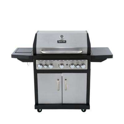 5-Burner Propane Gas Grill in Stainless Steel and Black with Side Burner and Rotisserie Burner