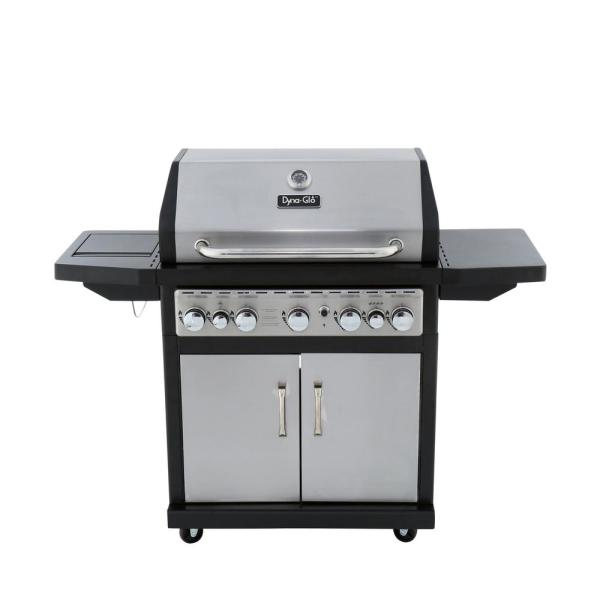 Dyna-Glo 5 Burner Propane Gas Grill with Side Burner and Rotisserie Burner