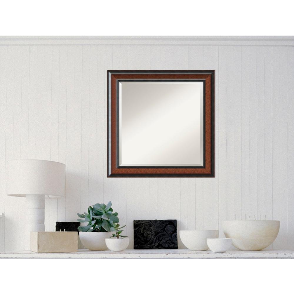 Cyprus Walnut Wood 25 in. W x 25 in. H Traditional Framed Mirror