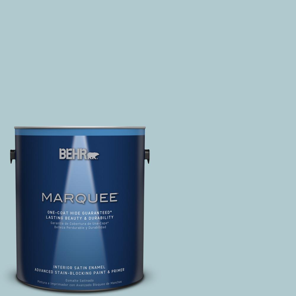 1 gal. #HDC-SM14-8 Floating Blue Satin Enamel Interior Paint