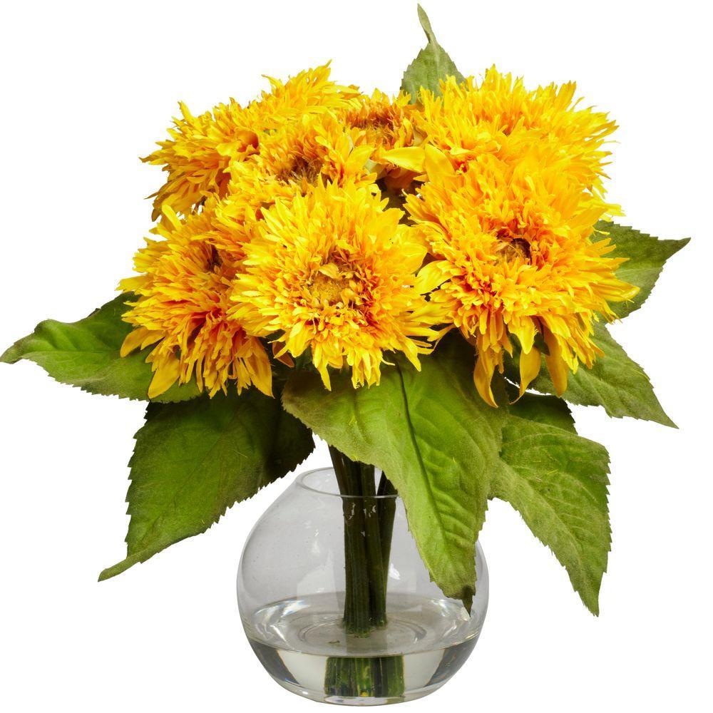 Nearly Natural 12 in. H Yellow Golden Sunflower Arrangement