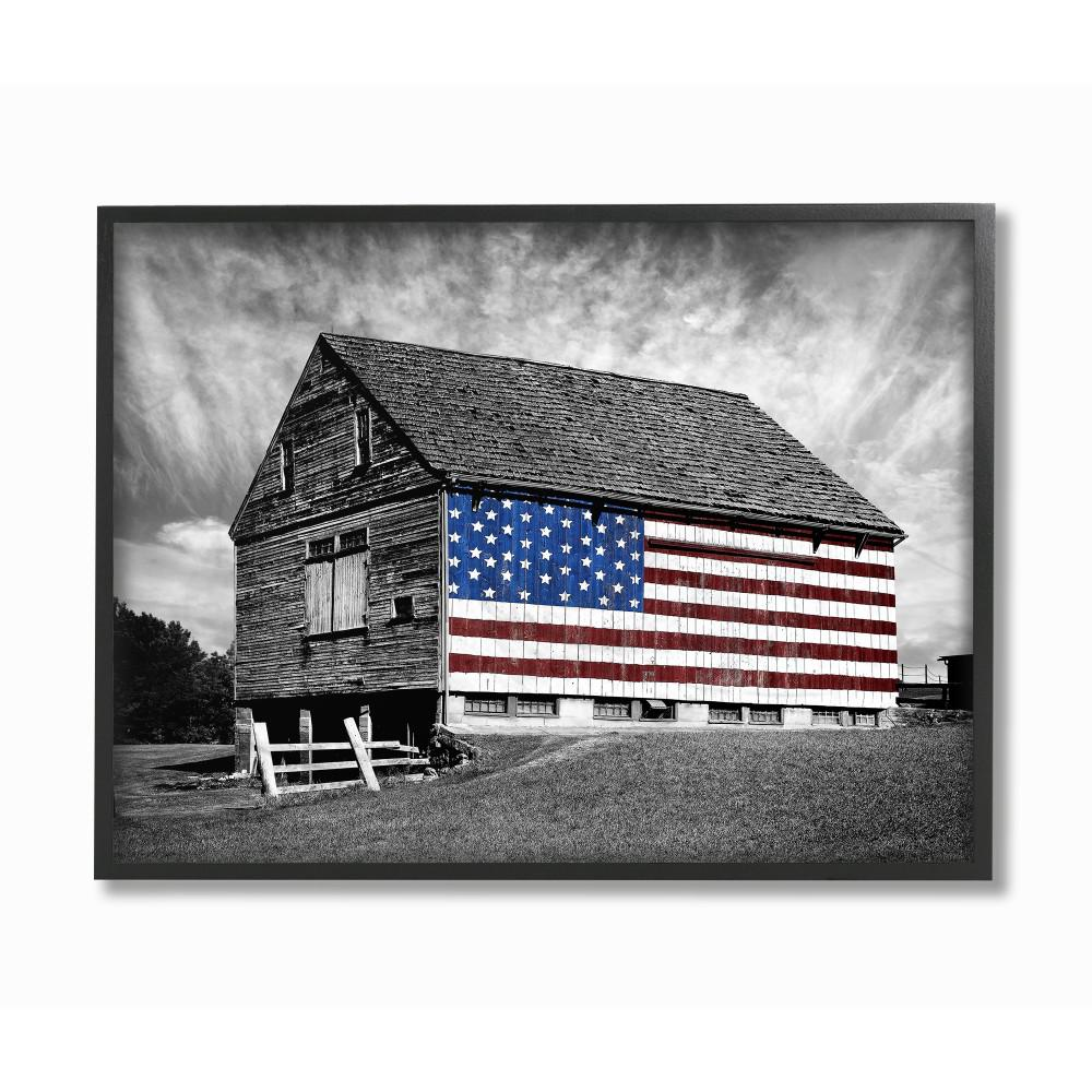 Stupell industries 11 in x 14 in black and white farmhouse barn american flag by james mcloughlin framed wall art sca 148 fr 11x14 the home depot
