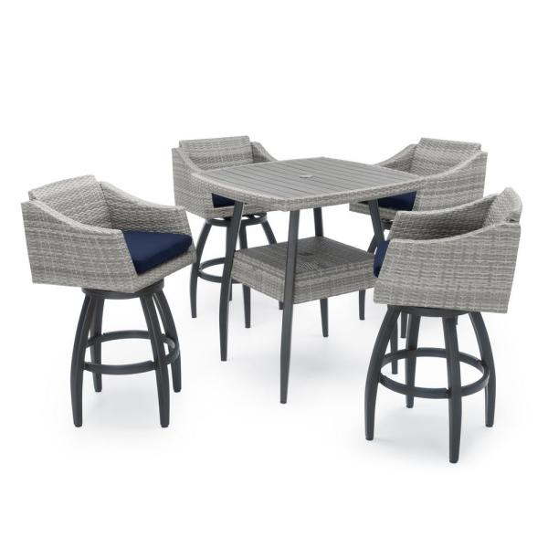 Cannes 5-Piece Wicker Outdoor Bar Height Dining Set with Sunbrella Navy Blue Cushions