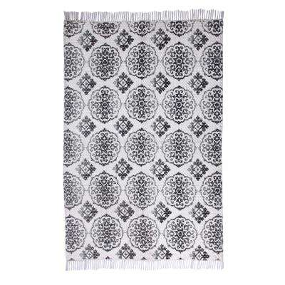 Ornamental Pattern Vintage Hand-Woven Grey 5 ft. x 7 ft. Area Rug