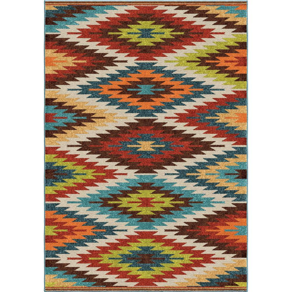 Orian Rugs Prescott Multi Aztec 8 ft. x 11 ft. Indoor/Outdoor Area ...
