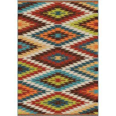 Prescott Multi Aztec 8 ft. x 11 ft. Indoor/Outdoor Area Rug