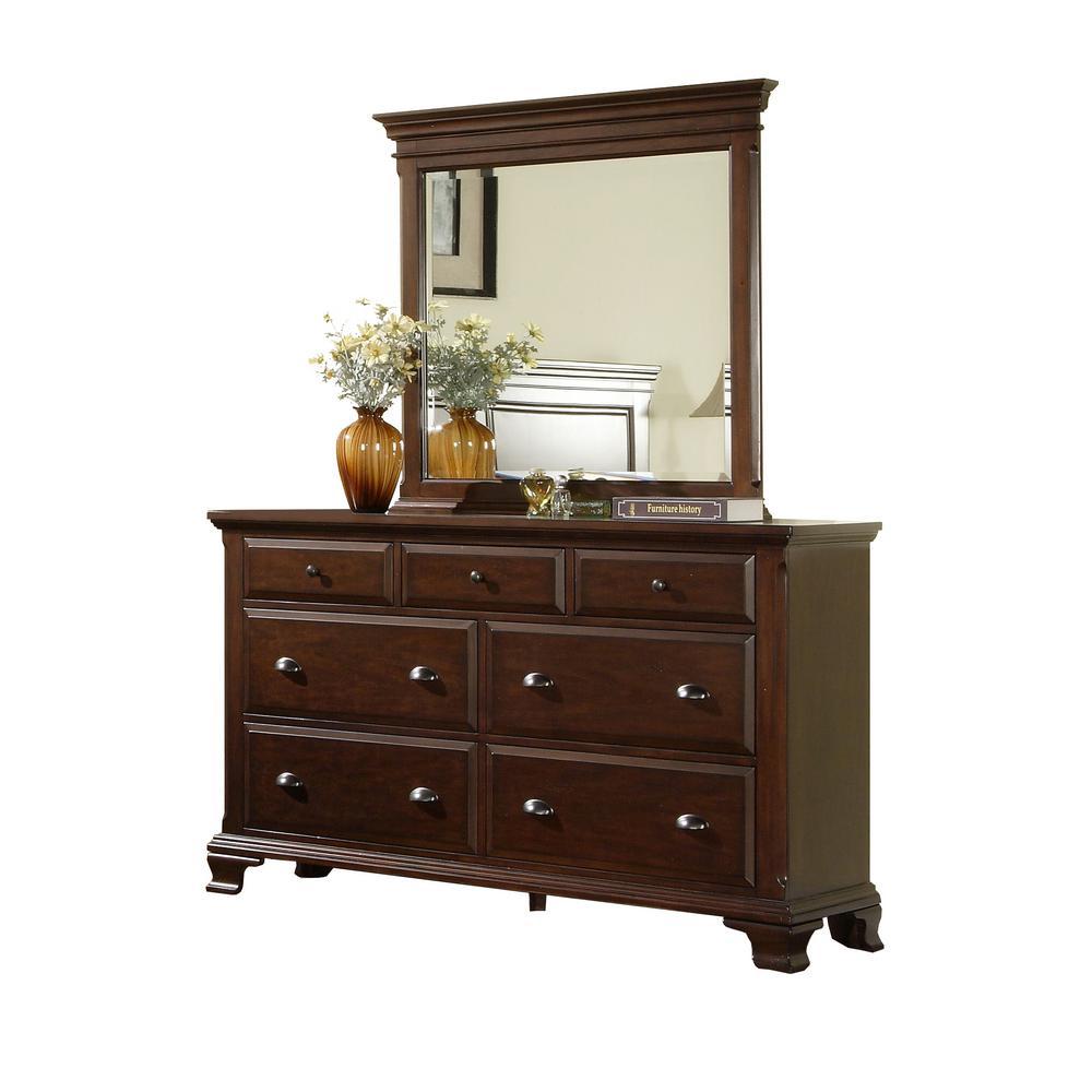 Brinley 7-Drawer Cherry Dresser with Mirror