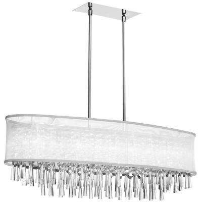 Josephine 8-Light Polished Chrome Crystal Oval Chandelier with White Organza Shade