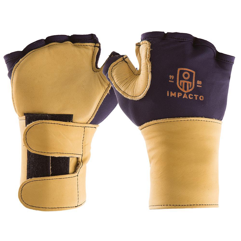 Blue//Gold Impacto 502-20 Large Glove Impact Fingerless Vep Palm//Web