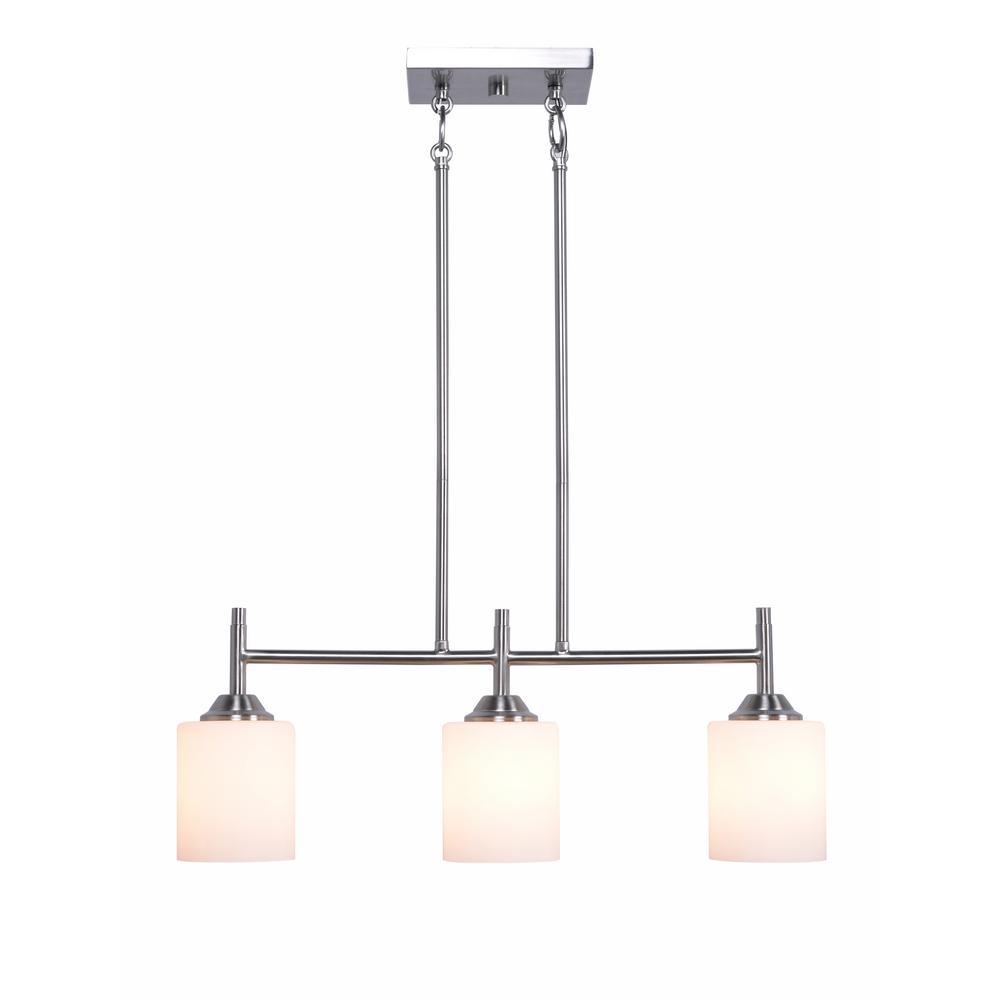 Kenroy Home Logan 3-Light Brushed Steel Island Light Pendant
