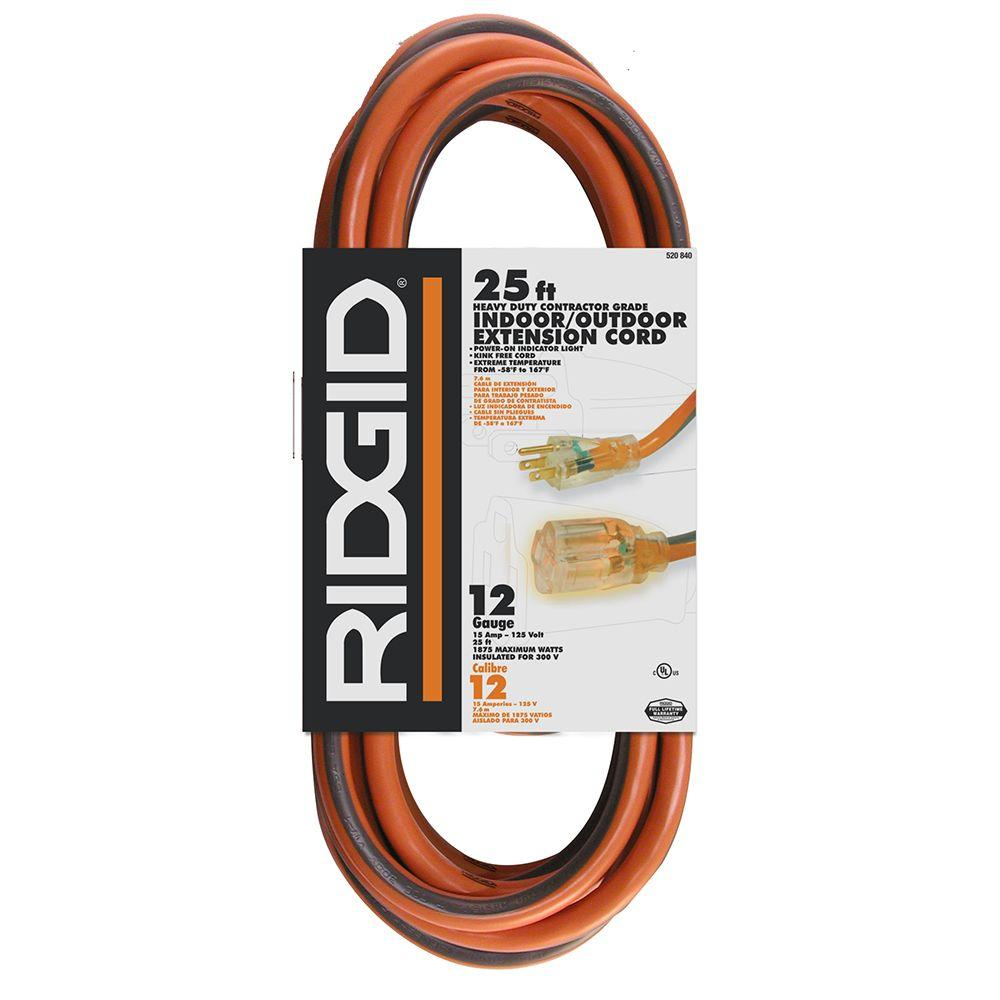 RIDGID 25 ft. 12/3 Extension Cord-74025RGD - The Home Depot