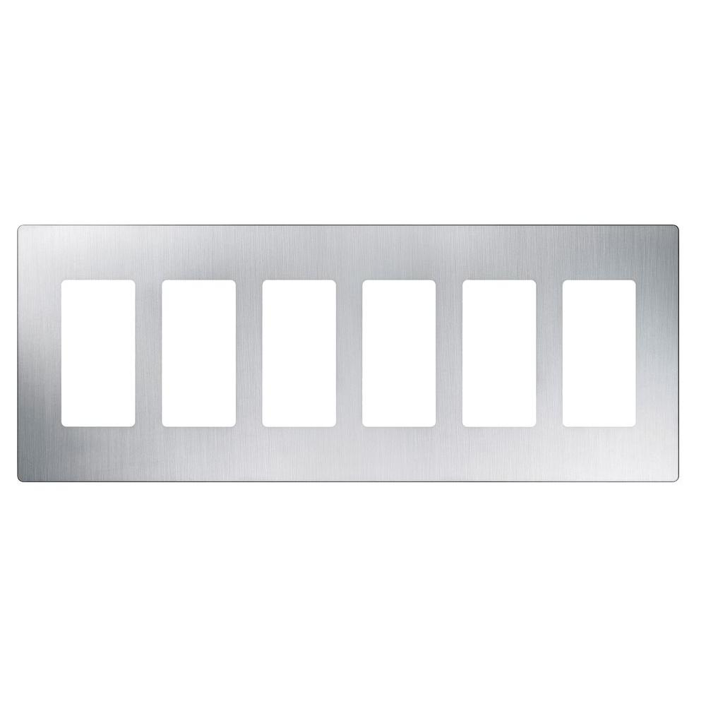 Reviews For Lutron Claro 6 Gang Decorator Rocker Wallplate Stainless Steel 1 Pack Cw 6 Ss The Home Depot