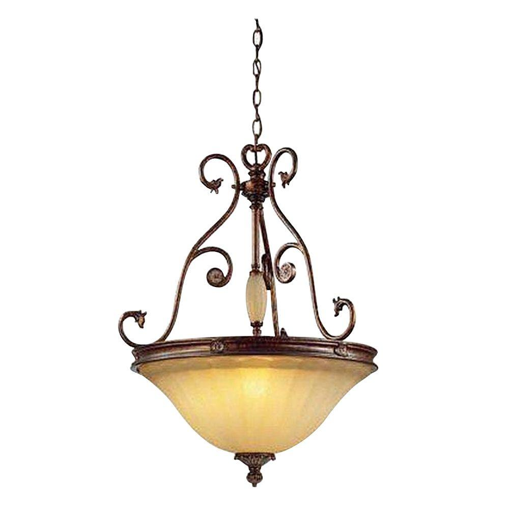 Hampton bay center bowl pendant lights lighting the home depot freemont collection 3 light antique bronze hanging pendant with glass shade aloadofball