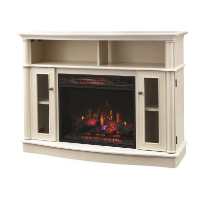 Tolleson 48 in. TV Stand Infrared Bow Front Electric Fireplace in Antique White