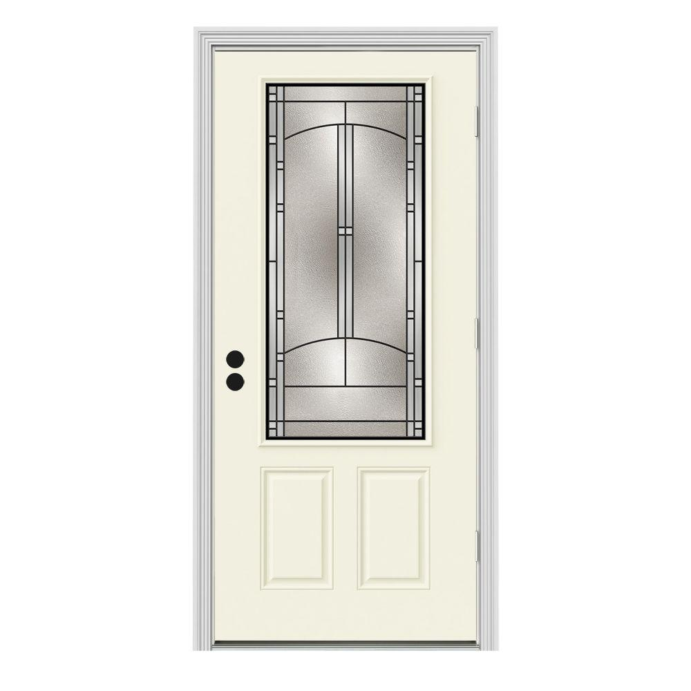 Jeld wen 34 in x 80 in 3 4 lite idlewild vanilla painted for Jeld wen front entry doors
