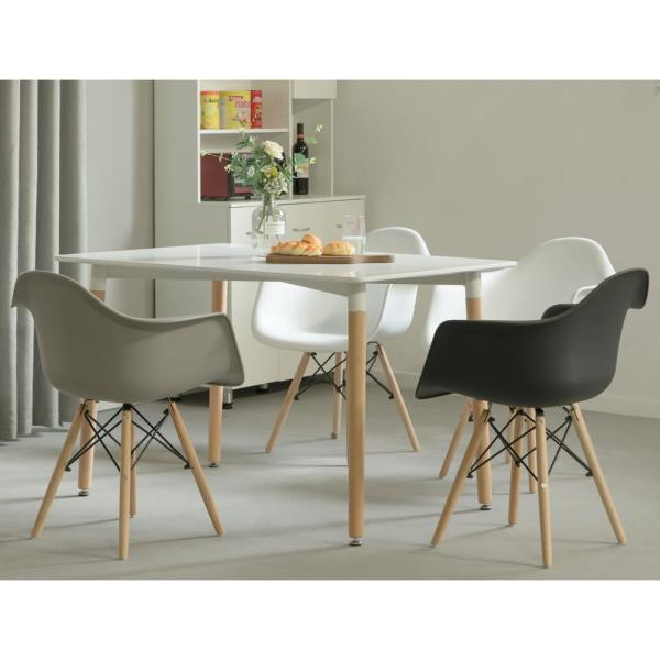 Bold Tones Mid Century Modern Rectangular 4 Ft Dining Table With White Plastic Tabletop And Solid Beech Wood Legs Qi003752 L The Home Depot