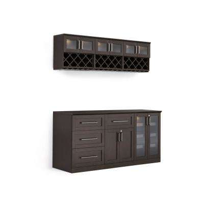 Home Bar 7-Piece Espresso Shaker Style Bar Cabinet