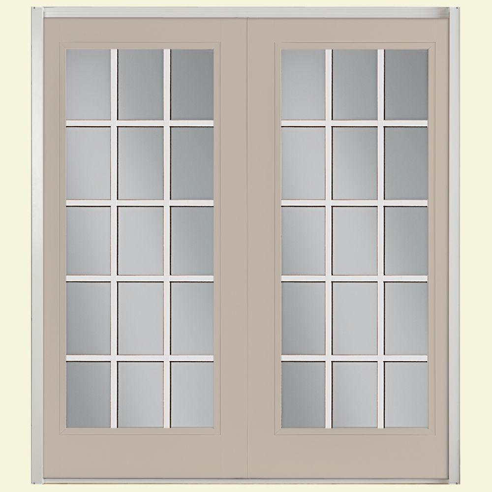 Right handinswing 59 x 80 french patio door patio doors prehung 15 lite steel patio door with no brickmold in vinyl frame planetlyrics Choice Image