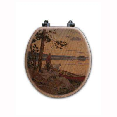 Song of the North Round Closed Front Wood Toilet Seat in Oak Brown