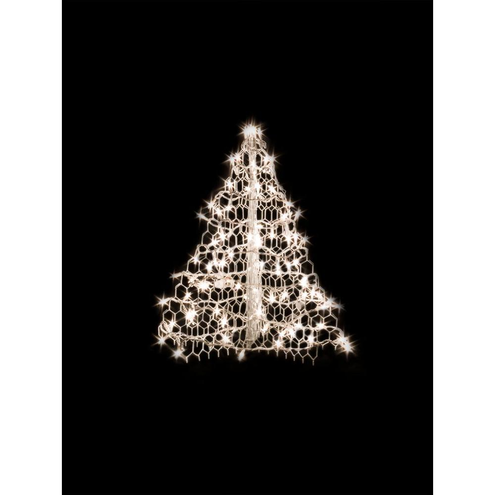 2 ft. Indoor/Outdoor Pre-Lit Incandescent Artificial Christmas Tree with White
