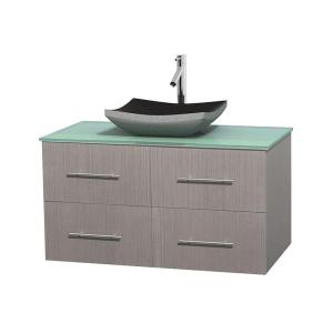 Wyndham Collection Centra 42 inch Vanity in Gray Oak with Glass Vanity Top in Green and Black Granite Sink by Wyndham Collection