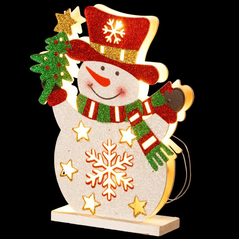Pre-Lit 12 in. Wooden Snowman
