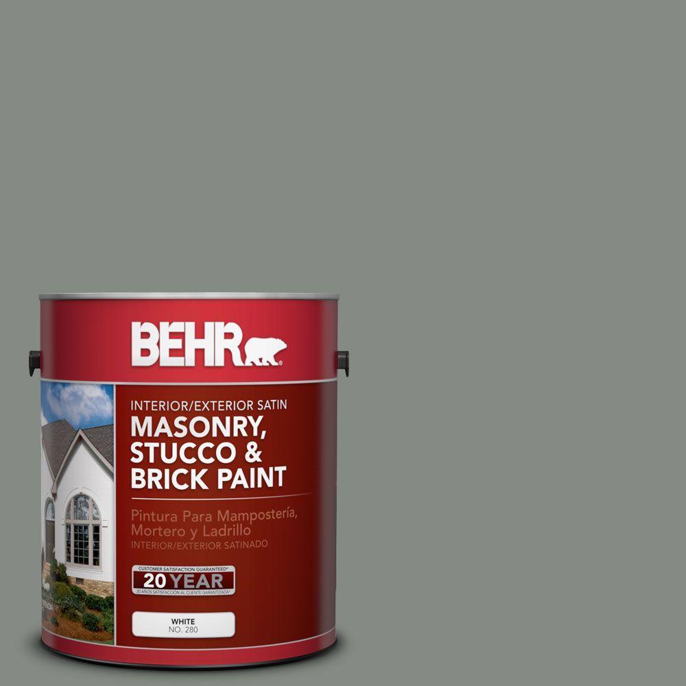 1-gal. #MS-69 Army Green Satin Interior/Exterior Masonry, Stucco and Brick Paint