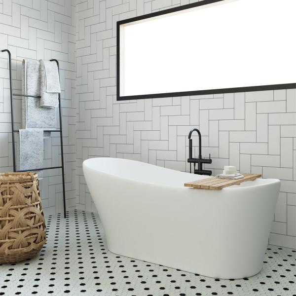 Ariel 67 In Acrylic Offset Drain Oval Flat Bottom Freestanding Bathtub In White Ps081a 6730 The Home Depot