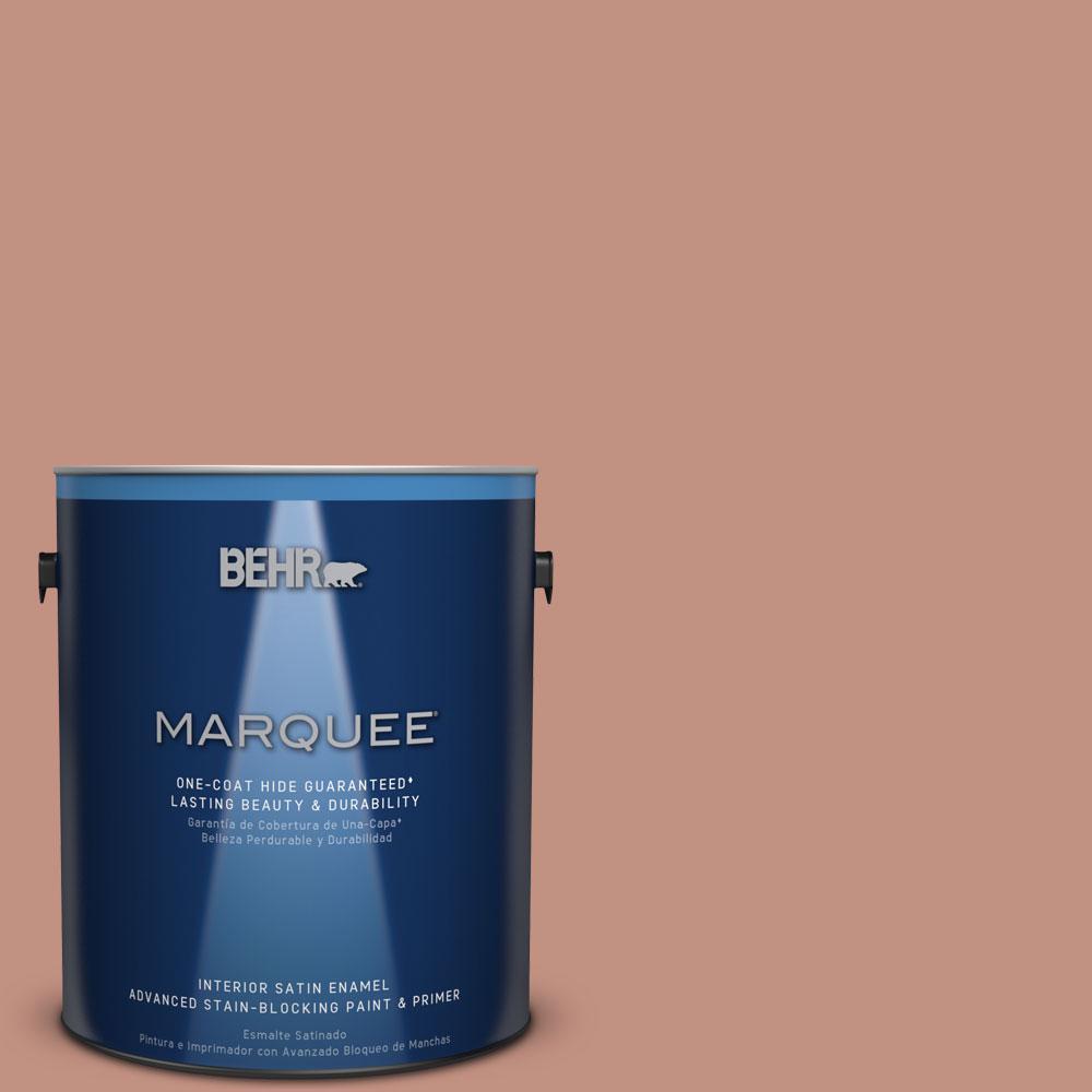 1 gal. #MQ1-51 Mesa Peach One-Coat Hide Satin Enamel Interior Paint