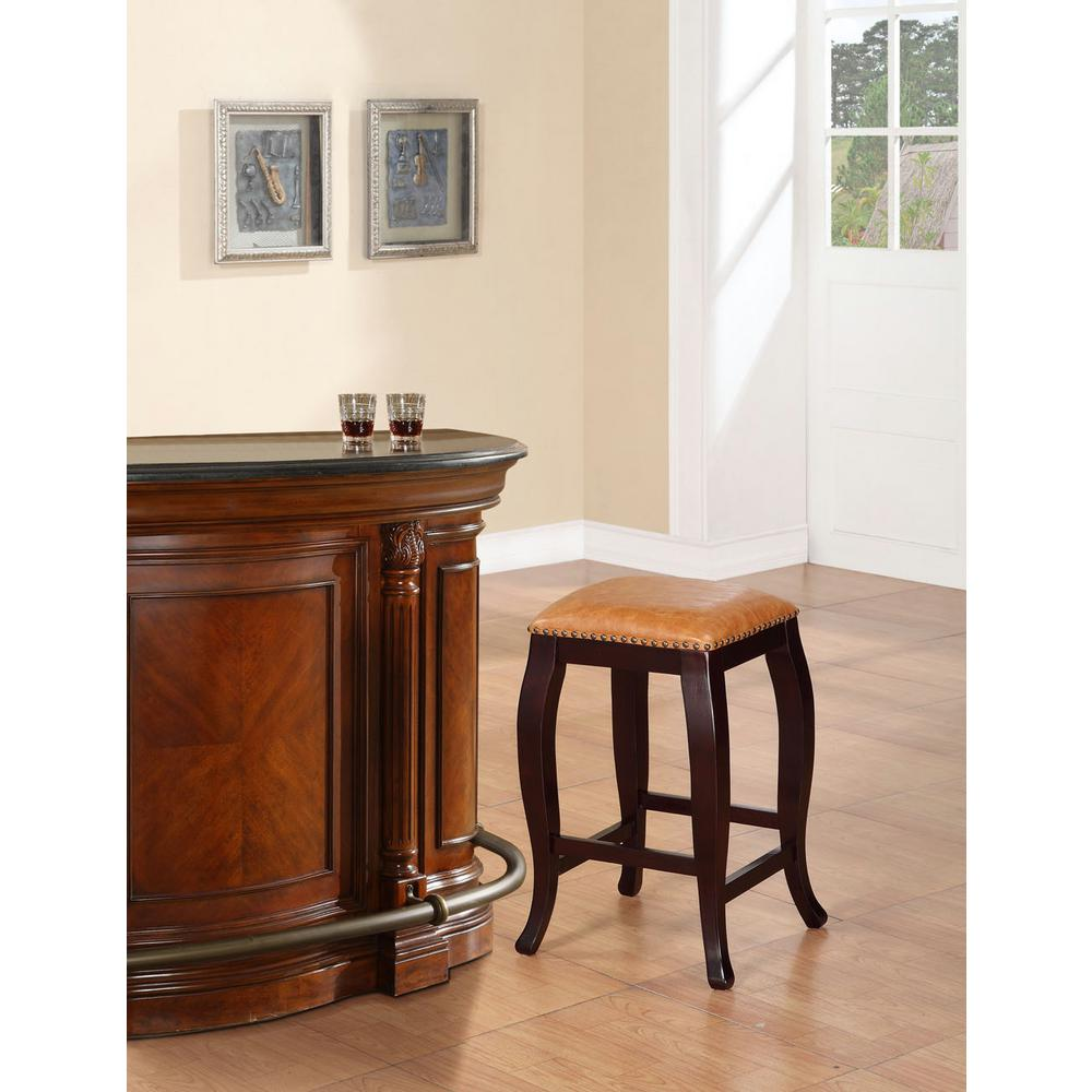 Linon home decor san francisco 24 in brown wenge cushioned bar stool 178204car01 the home depot - Home decor san francisco image ...