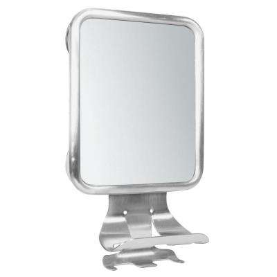 Forma Suction 12 in. x 7-1/5 in. Framed Wall Mirror Center in Brushed Stainless Steel