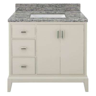 Shaelyn 37 in. W x 22 in. D Bath Vanity in Rainy Day LH with Granite Vanity Top in Santa Cecilia with White Sink
