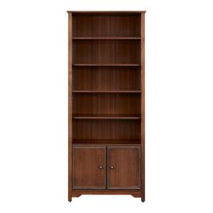 Deals on Home Decorators Bradstone 72.28 in. Walnut Open Bookcase with 2 Doors