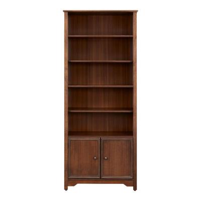 Bradstone 72.28 in.  Walnut Open Bookcase with 2 Doors