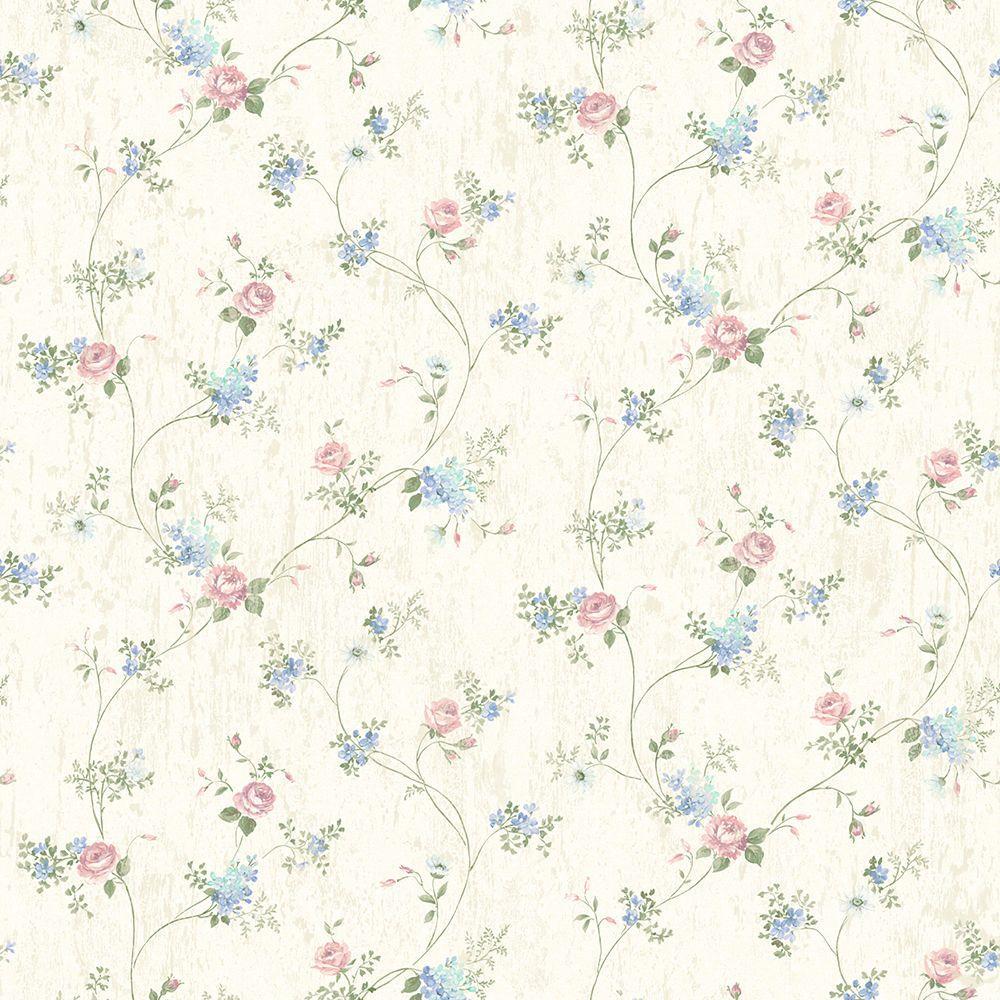 Brewster Persimone Periwinkle Floral Vine Wallpaper Sample 2686