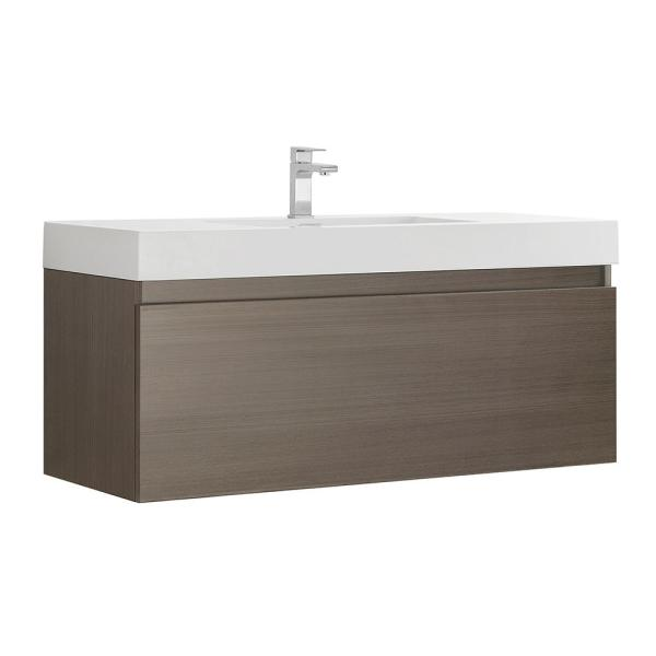 Mezzo 48 in. Modern Wall Hung Bath Vanity in Gray Oak with Vanity Top in White with White Basin