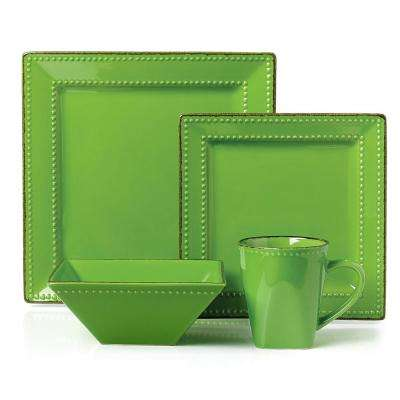 16-Piece Green Square Beaded Stoneware Dinnerware set
