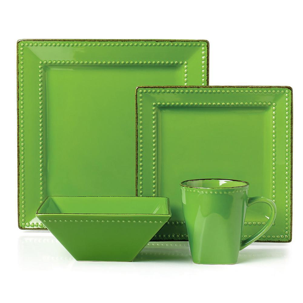 16-Piece Green Square Beaded Stoneware Dinnerware set