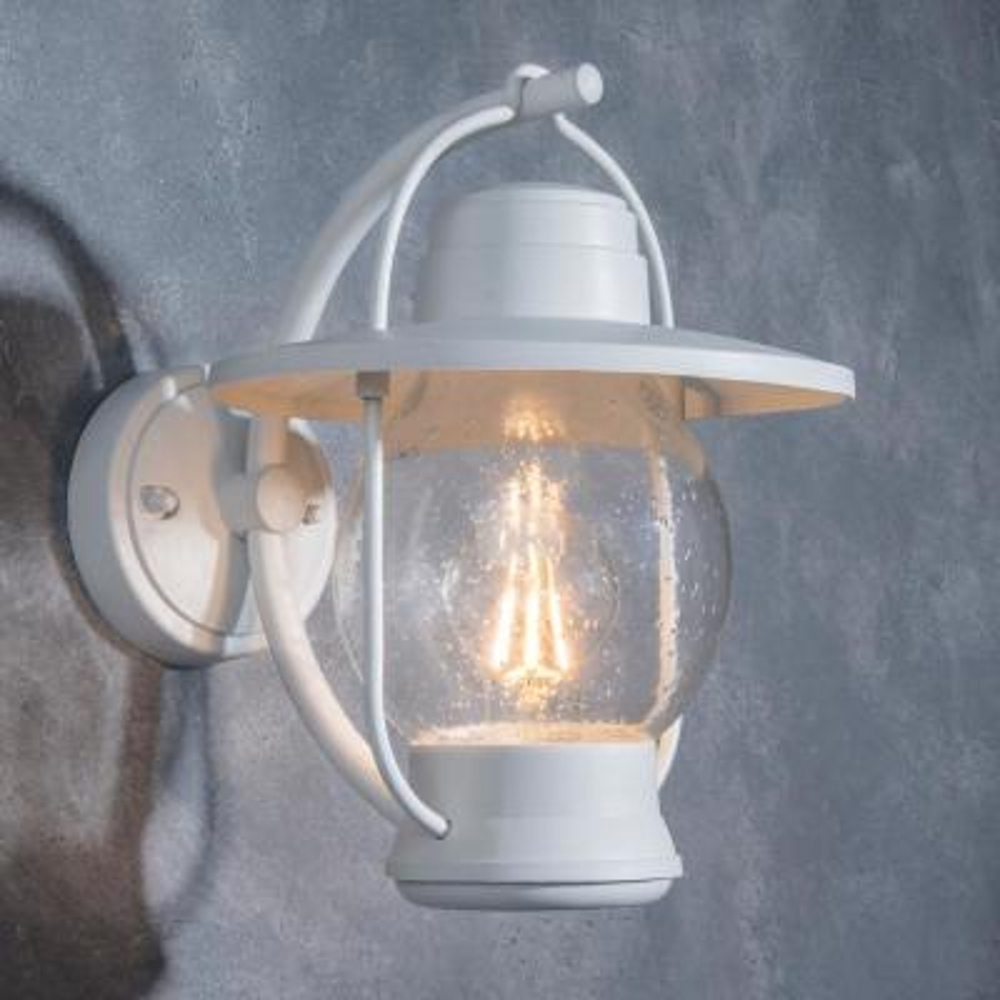 Coastal Nantucket 1-Light White Outdoor Wall Lantern Sconce