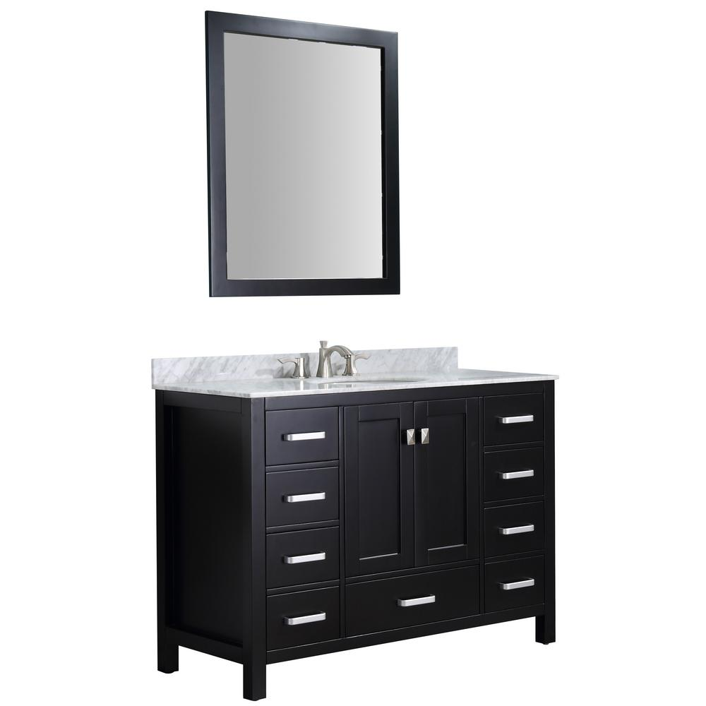 ANZZI Chateau 48 in. W x 36 in. H Bath Vanity in Black with Marble Vanity Top in Carrara White with White Basin and Mirror