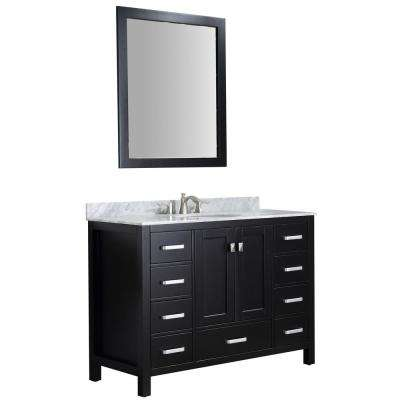 Chateau 48 in. W x 36 in. H Bath Vanity in Black with Marble Vanity Top in Carrara White with White Basin and Mirror