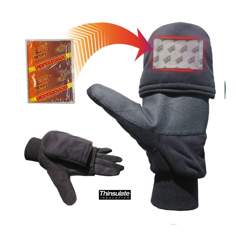 Heat Factory Pop Top Mitt-Black Large, Black