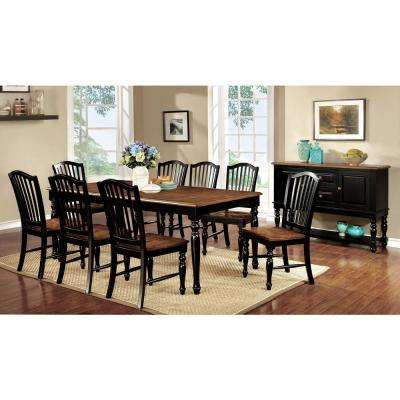 Mayville Black and Antique Oak Cottage Style Dining Table