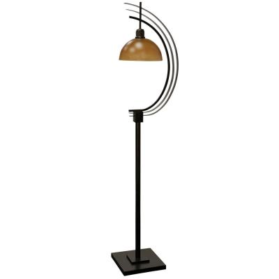 Metal and Glass 63 in. Cast Iron Industrial Bronze Metal and Amber Glass Floor Lamp