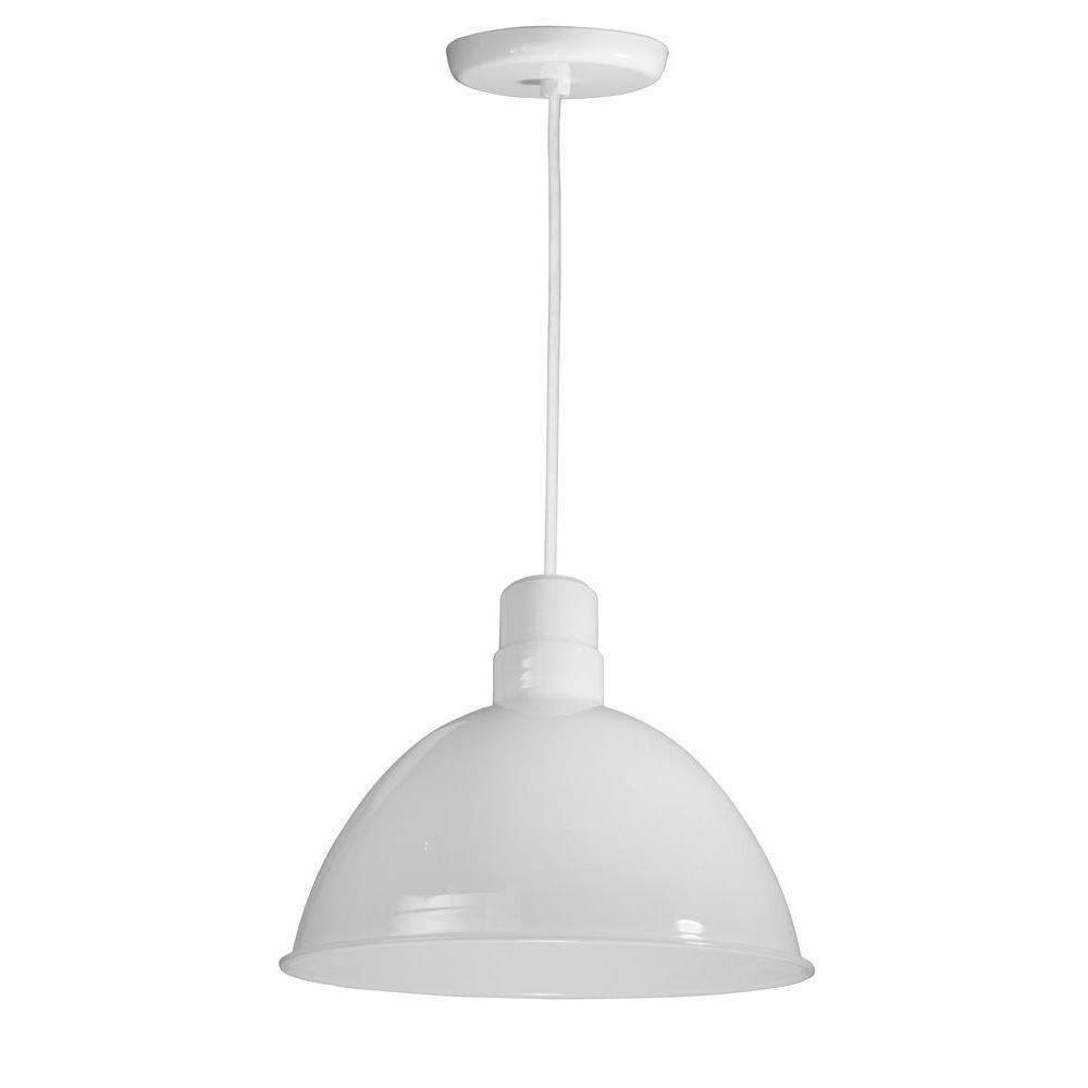 1-Light Outdoor Hanging White Deep Bowl Pendant