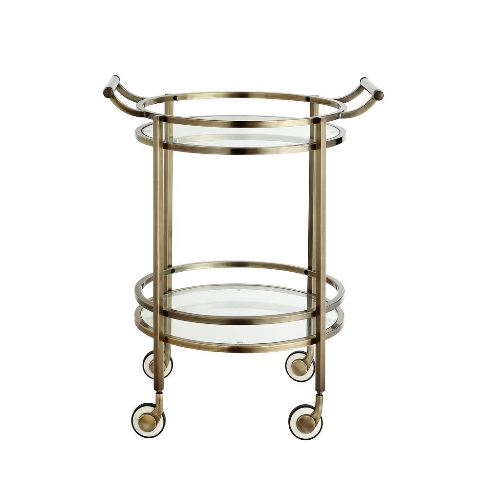 Decatur Round Brass Serving Cart